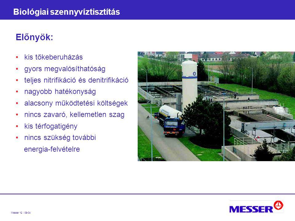 Messer 12 / 09-04 Biológiai szennyvíztisztítás Előnyök: kis tőkeberuházás gyors megvalósíthatóság teljes nitrifikáció és denitrifikáció nagyobb hatékonyság alacsony működtetési költségek nincs zavaró, kellemetlen szag kis térfogatigény nincs szükség további energia-felvételre