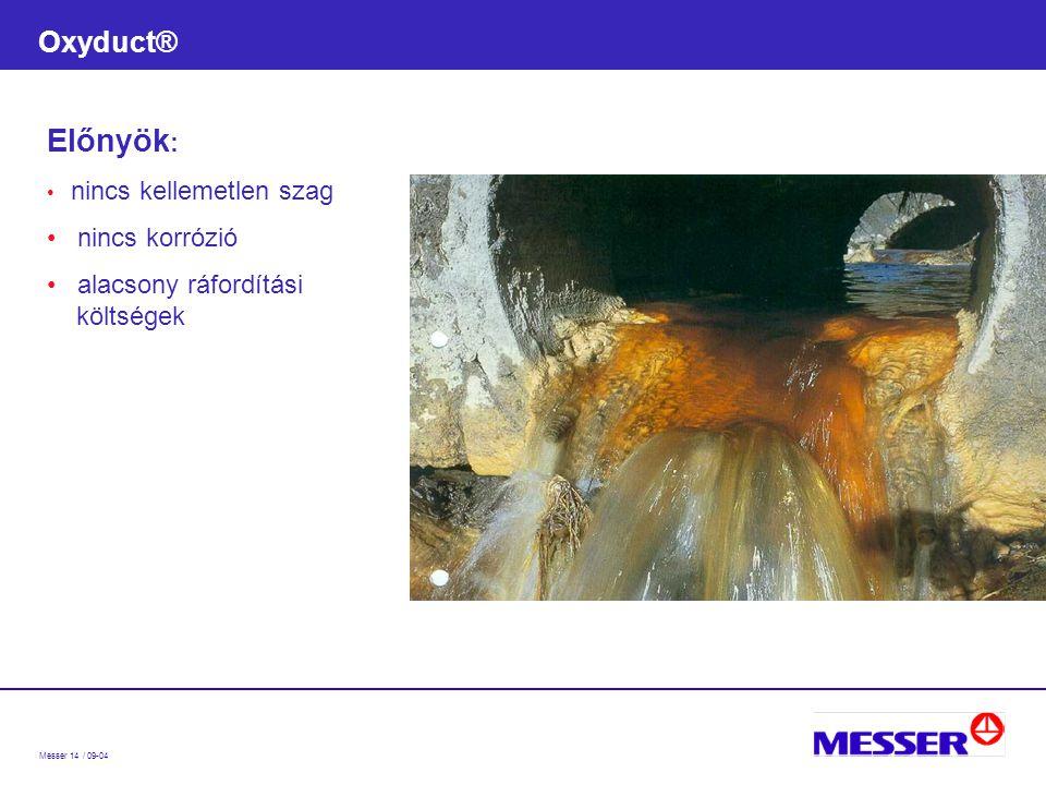 Messer 14 / 09-04 Oxyduct® Előnyök : nincs kellemetlen szag nincs korrózió alacsony ráfordítási költségek