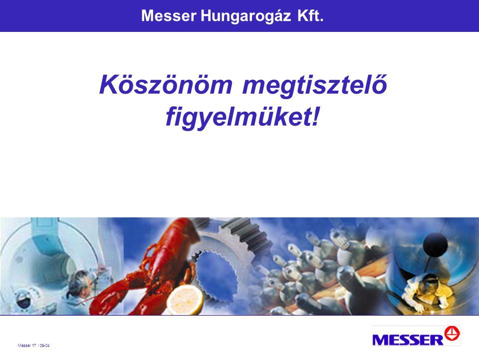 Messer 17 / 09-04 Messer Hungarogáz Kft. Köszönöm megtisztelő figyelmüket!