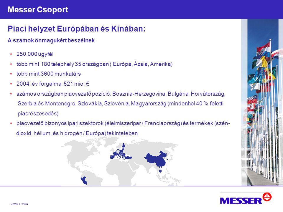 Messer 2 / 09-04 Messer Csoport 250.000 ügyfél több mint 180 telephely 35 országban ( Európa, Ázsia, Amerika) több mint 3600 munkatárs 2004.