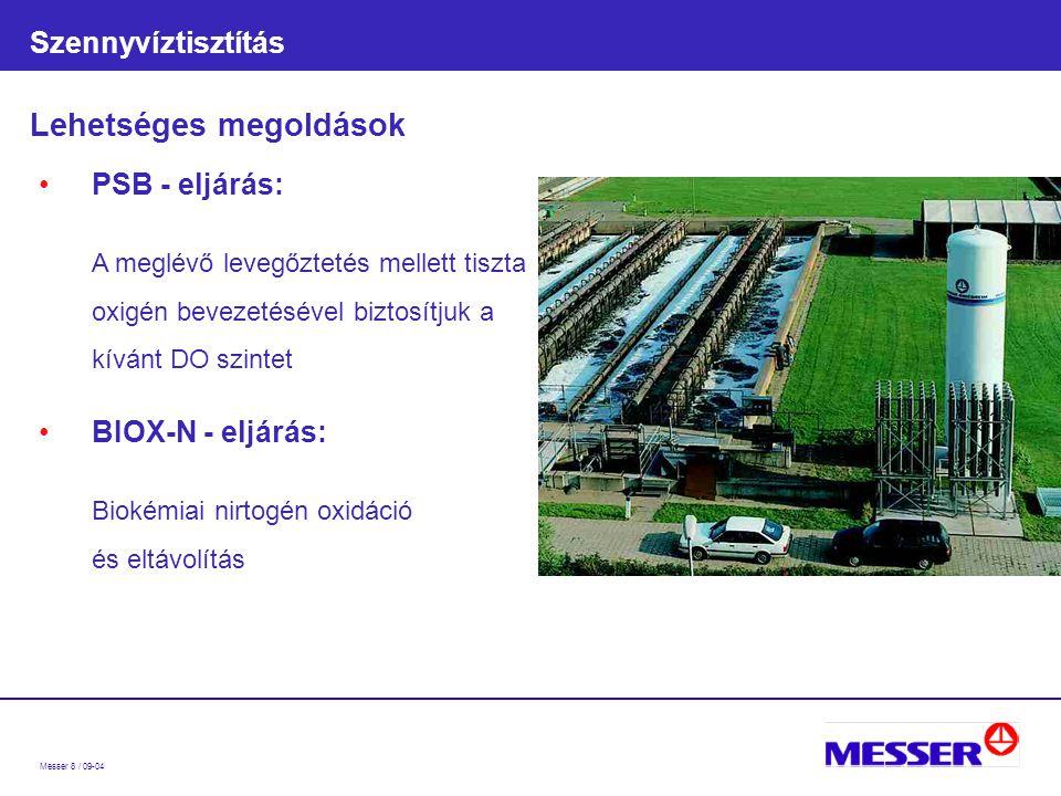 Messer 8 / 09-04 Szennyvíztisztítás Lehetséges megoldások PSB - eljárás: A meglévő levegőztetés mellett tiszta oxigén bevezetésével biztosítjuk a kívánt DO szintet BIOX-N - eljárás: Biokémiai nirtogén oxidáció és eltávolítás