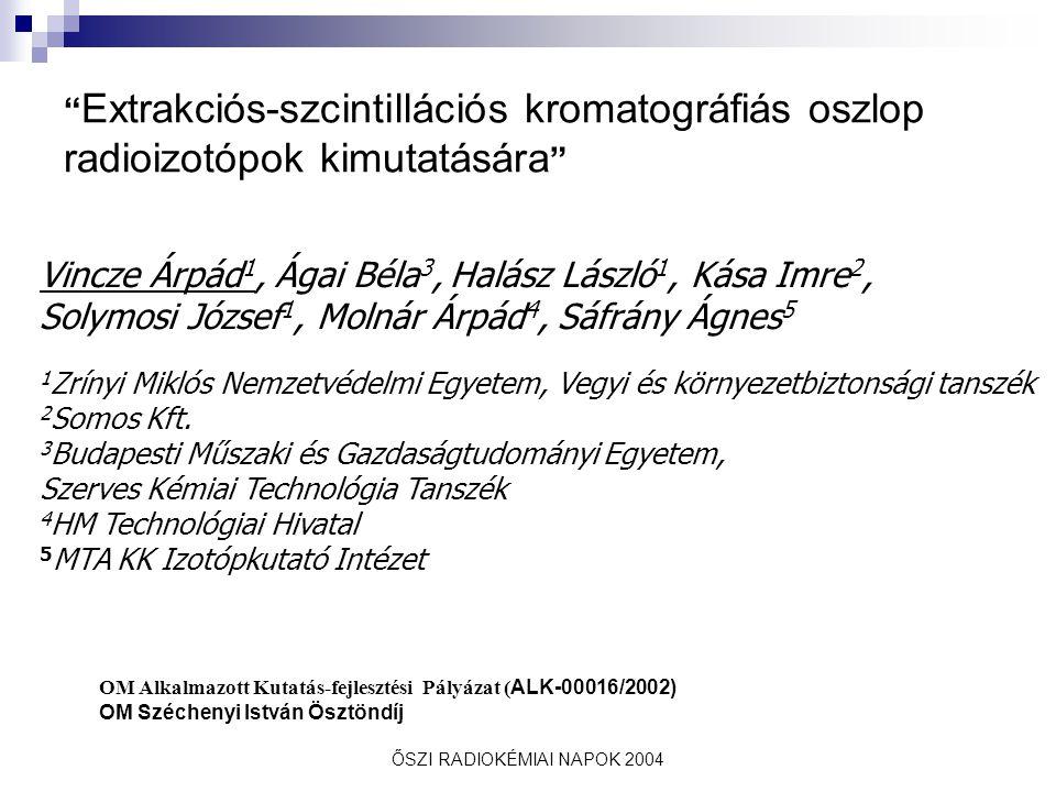 """ŐSZI RADIOKÉMIAI NAPOK 2004 """" Extrakciós-szcintillációs kromatográfiás oszlop radioizotópok kimutatására """" Vincze Árpád 1, Ágai Béla 3, Halász László"""
