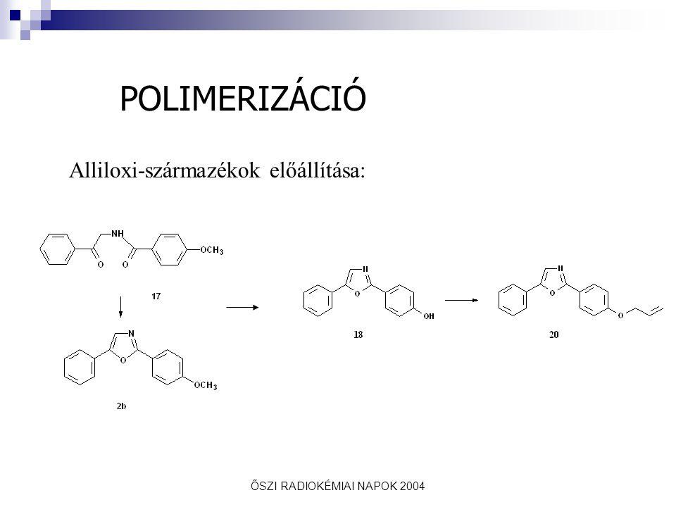 ŐSZI RADIOKÉMIAI NAPOK 2004 Di(etilén-glikol)-dimetakrilát (DEGMA) + sztirol + allilszármazékok + komplexképző oldatban besugározva Polimerizáció besugárzással