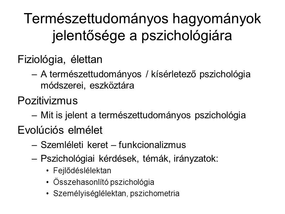 Természettudományos hagyományok jelentősége a pszichológiára Fiziológia, élettan –A természettudományos / kísérletező pszichológia módszerei, eszköztá