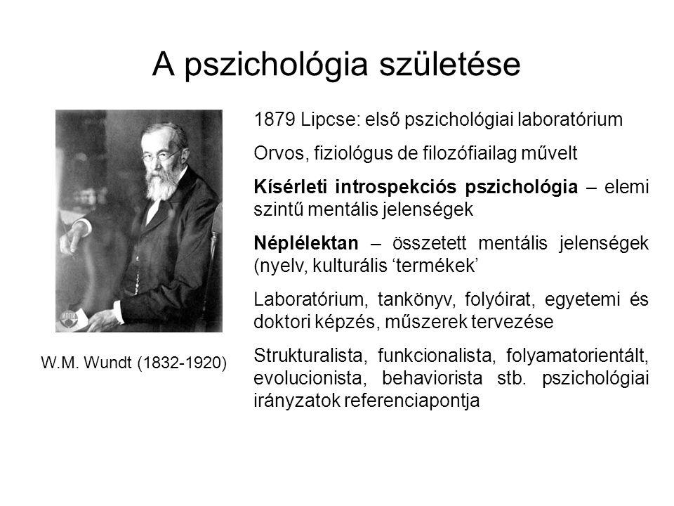 A pszichológia születése W.M. Wundt (1832-1920) 1879 Lipcse: első pszichológiai laboratórium Orvos, fiziológus de filozófiailag művelt Kísérleti intro