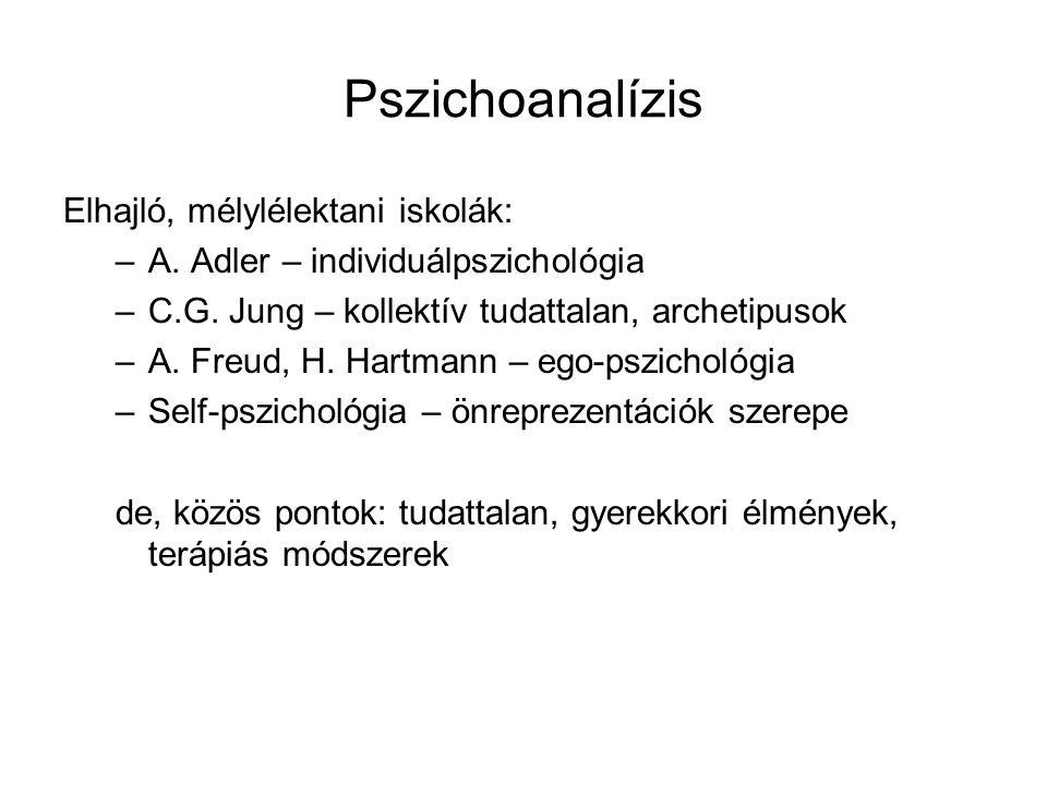Pszichoanalízis Elhajló, mélylélektani iskolák: –A. Adler – individuálpszichológia –C.G. Jung – kollektív tudattalan, archetipusok –A. Freud, H. Hartm