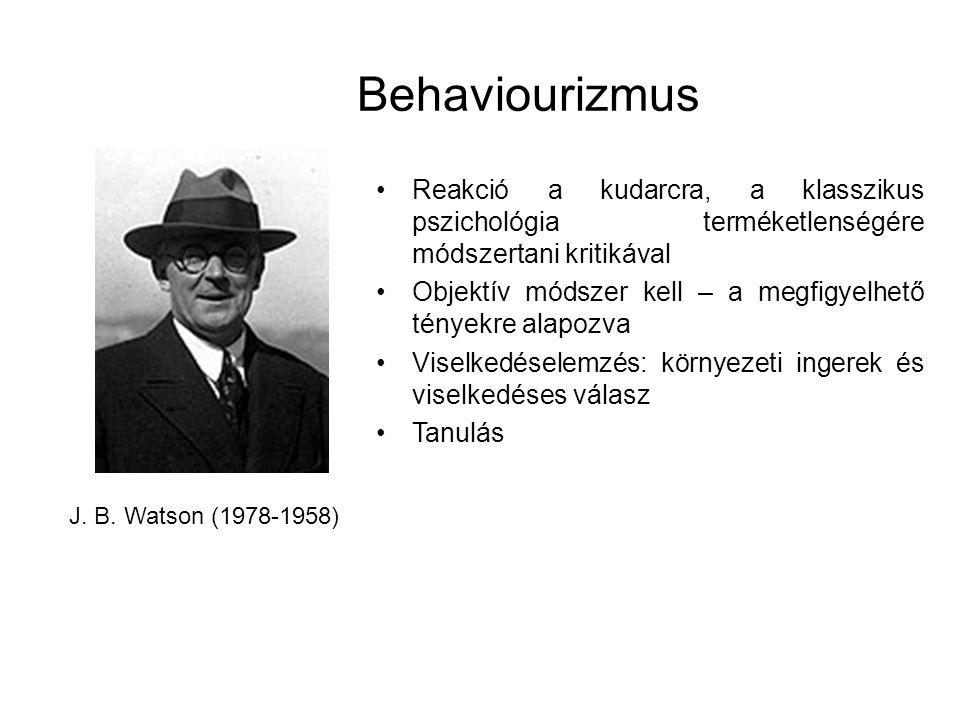 Behaviourizmus J. B. Watson (1978-1958) Reakció a kudarcra, a klasszikus pszichológia terméketlenségére módszertani kritikával Objektív módszer kell –