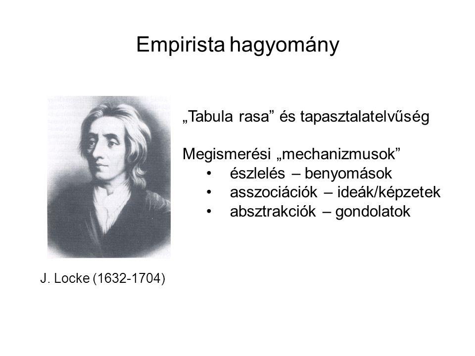 """Empirista hagyomány J. Locke (1632-1704) """"Tabula rasa"""" és tapasztalatelvűség Megismerési """"mechanizmusok"""" észlelés – benyomások asszociációk – ideák/ké"""