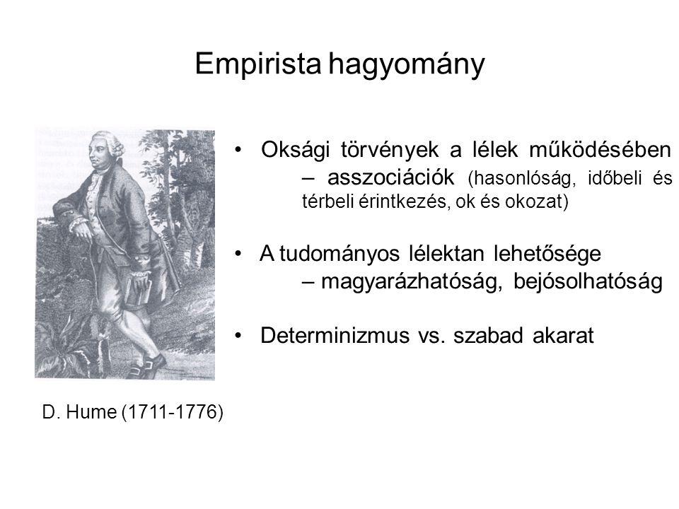 Empirista hagyomány D. Hume (1711-1776) Oksági törvények a lélek működésében – asszociációk (hasonlóság, időbeli és térbeli érintkezés, ok és okozat)
