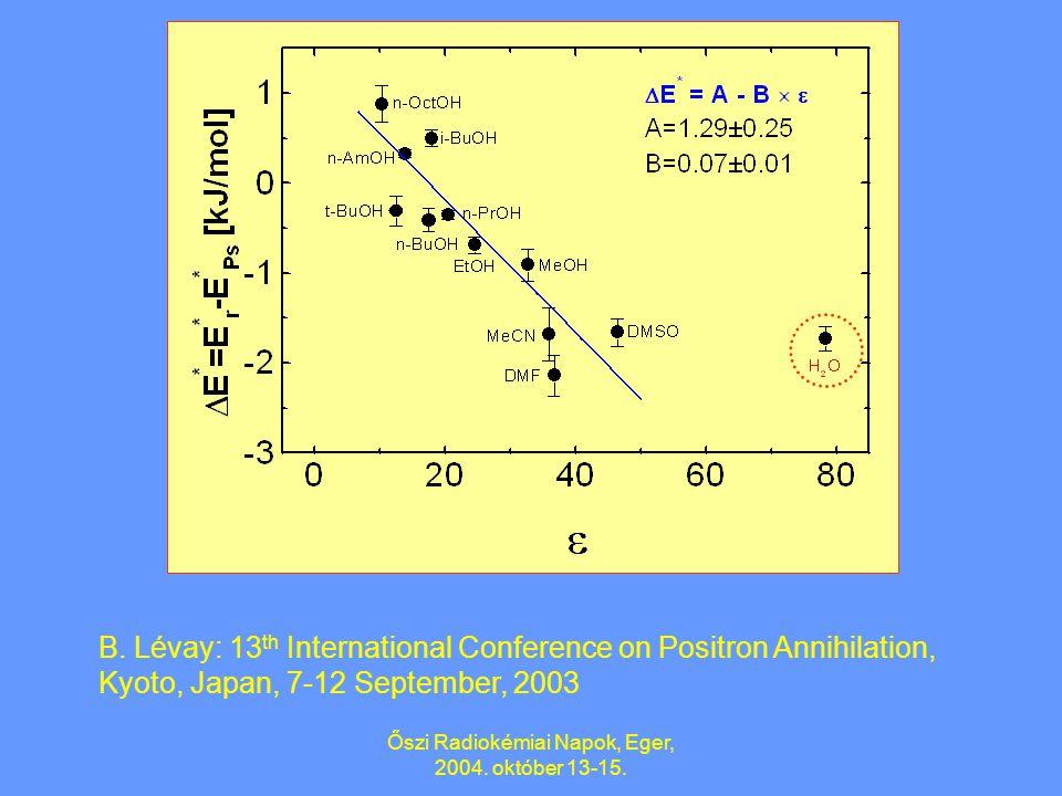 Őszi Radiokémiai Napok, Eger, 2004. október 13-15. 1.2. Poláros folyadékok szélesebb körű vizsgálata (H 2 O, 8 alifás alkohol, DMF, DMSO, MeCN) Az Arr