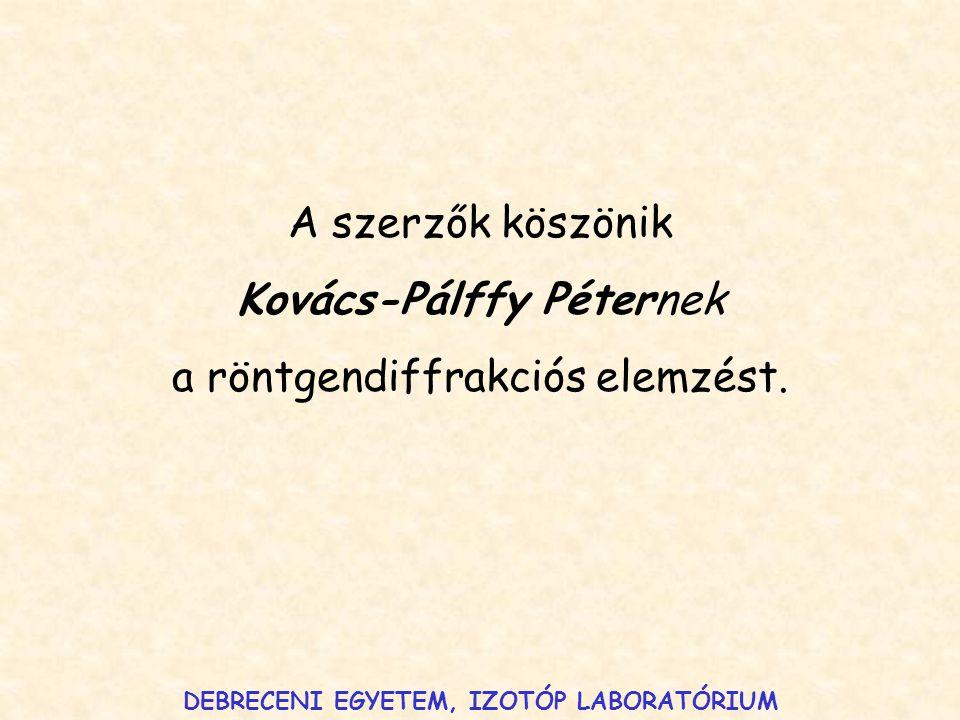A szerzők köszönik Kovács-Pálffy Péternek a röntgendiffrakciós elemzést. DEBRECENI EGYETEM, IZOTÓP LABORATÓRIUM