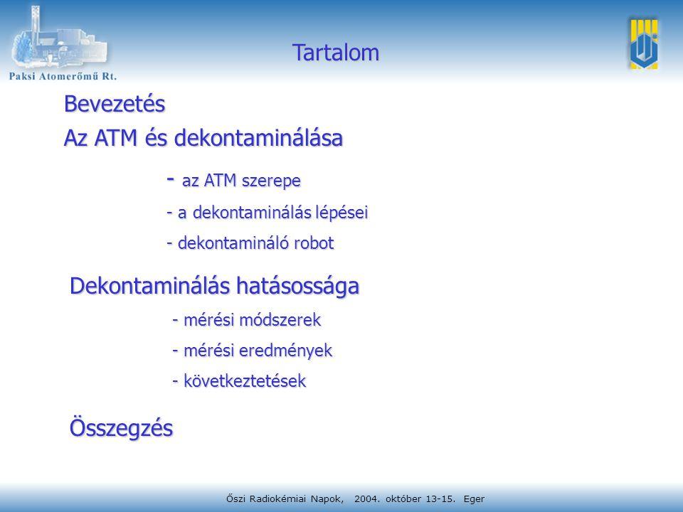Őszi Radiokémiai Napok, 2004. október 13-15. Eger Tartalom Bevezetés Az ATM és dekontaminálása - az ATM szerepe - a dekontaminálás lépései - dekontami