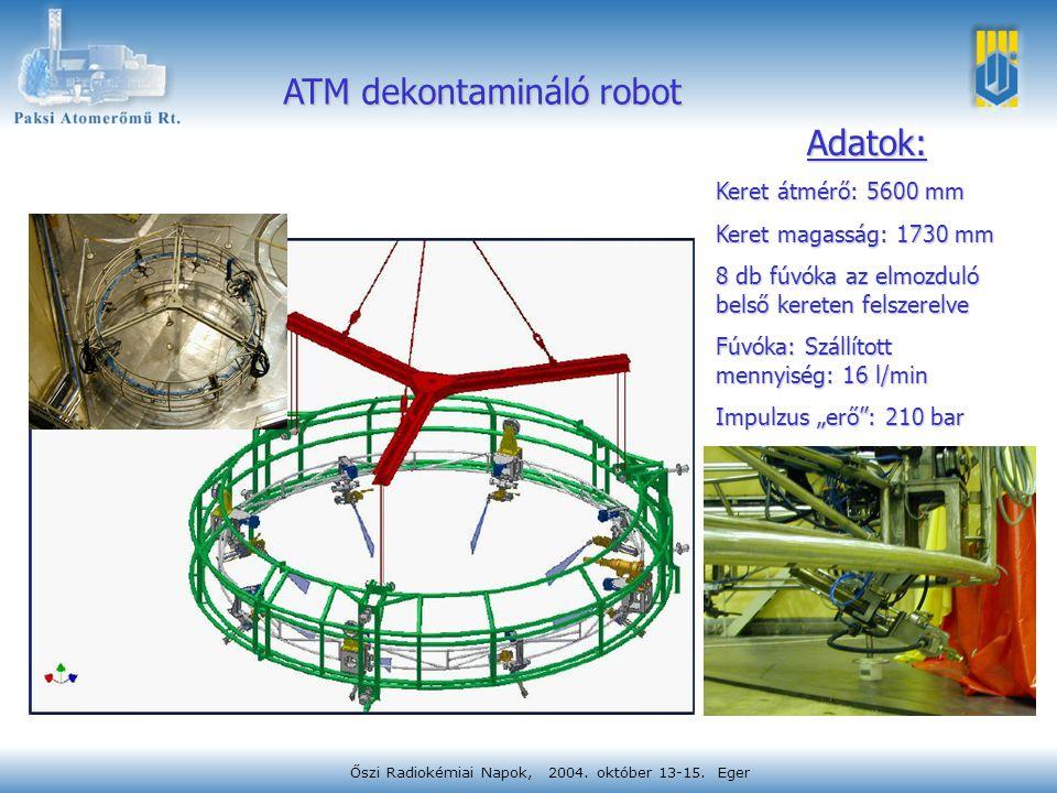 Őszi Radiokémiai Napok, 2004. október 13-15. Eger ATM dekontamináló robot Adatok: Keret átmérő: 5600 mm Keret magasság: 1730 mm 8 db fúvóka az elmozdu