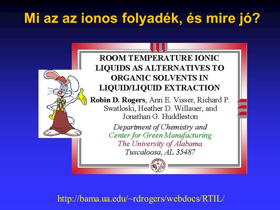 Mi az az ionos folyadék, és mire jó? http://bama.ua.edu/~rdrogers/webdocs/RTIL/