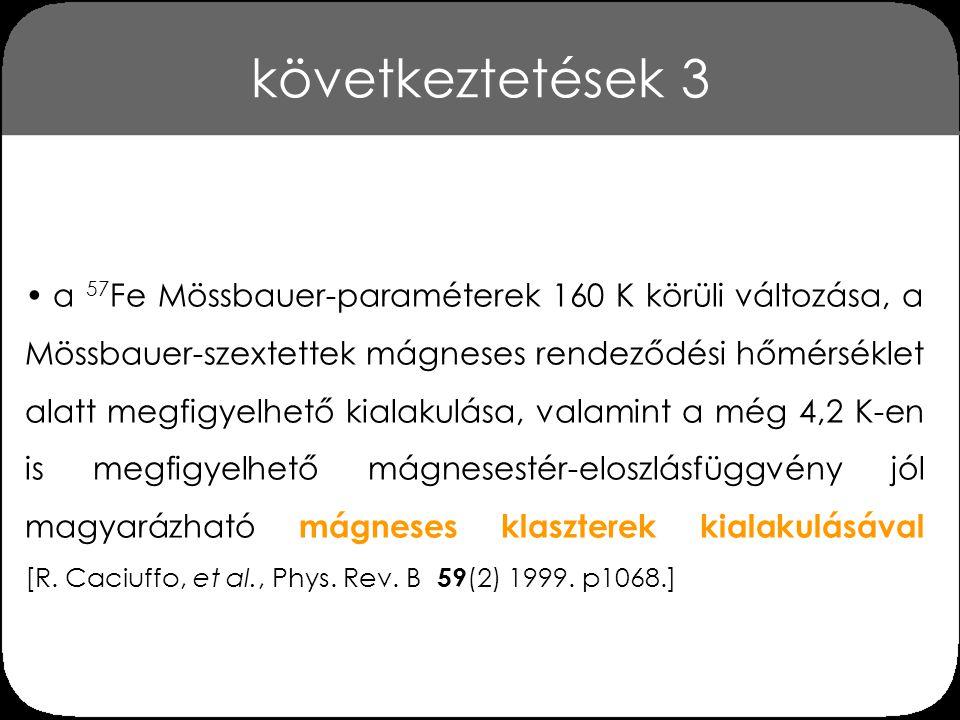 következtetések 4 a mágneses rendeződési hőmérséklet csökkenése a növekvő vastartalommal arra utal, hogy a vas ionok bevitele csökkenti a kobalt klaszterek átlagos méretét a Mössbauer-spektroszkópiai és AC mágneses szuszcep- tibilitás mérések azt mutatják, hogy a La 0.8 Sr 0.2 Fe x Co 1- x O 3- δ (x = 0,025…0,30) perovszkitok mágneses szerkezete kb.