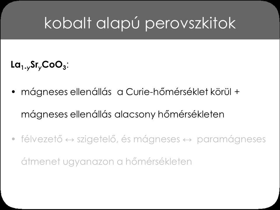 kobalt alapú perovszkitok A La 1-y Sr y CoO 3 perovszkit mágneses ellenállása a hőmérséklet függvényében [Golovanov et al., Phys.