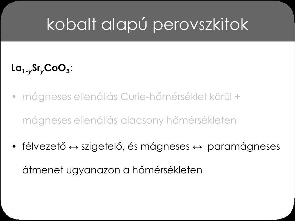 kobalt alapú perovszkitok A La 1-y Sr y CoO 3 perovszkit fázisdiagramja [Wu et al., Phys.