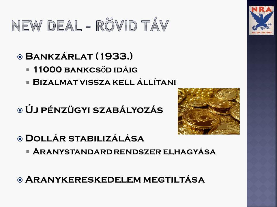  Bankzárlat (1933.)  11000 bankcs ő d idáig  Bizalmat vissza kell állítani  Új pénzügyi szabályozás  Dollár stabilizálása  Aranystandard rendszer elhagyása  Aranykereskedelem megtiltása