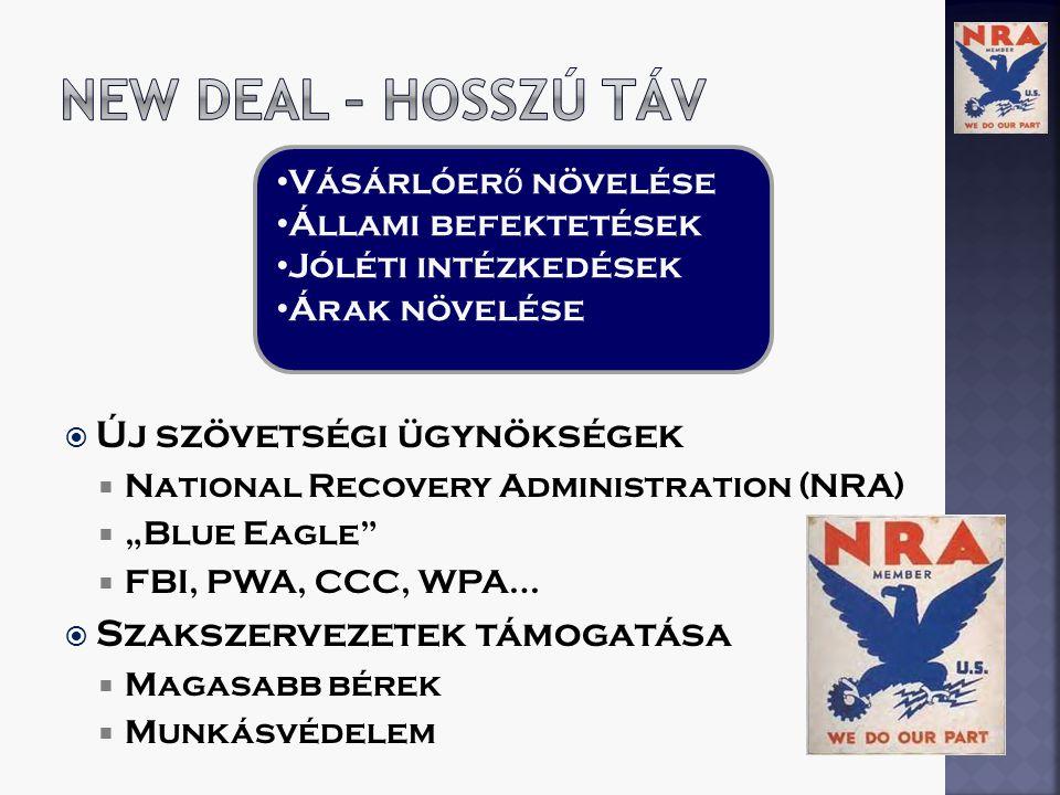 """ Új szövetségi ügynökségek  National Recovery Administration (NRA)  """"Blue Eagle  FBI, PWA, CCC, WPA…  Szakszervezetek támogatása  Magasabb bérek  Munkásvédelem Vásárlóer ő növelése Állami befektetések Jóléti intézkedések Árak növelése"""