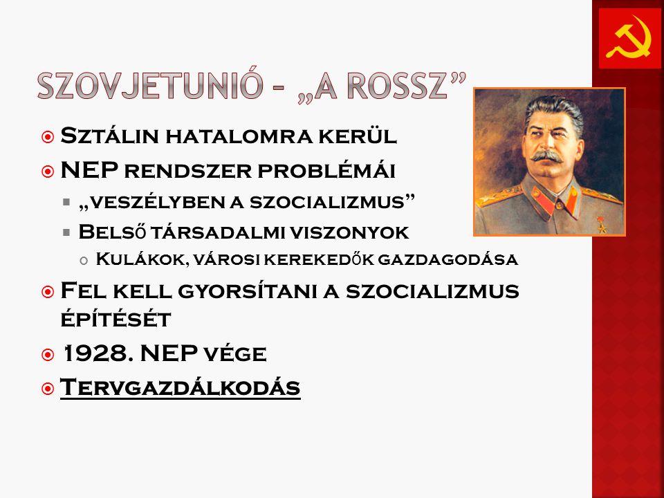 """ Sztálin hatalomra kerül  NEP rendszer problémái  """"veszélyben a szocializmus  Bels ő társadalmi viszonyok Kulákok, városi kereked ő k gazdagodása  Fel kell gyorsítani a szocializmus építését  1928."""