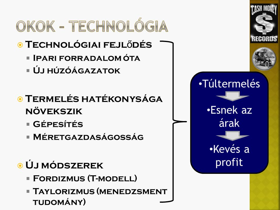  Technológiai fejl ő dés  Ipari forradalom óta  Új húzóágazatok  Termelés hatékonysága növekszik  Gépesítés  Méretgazdaságosság  Új módszerek  Fordizmus (T-modell)  Taylorizmus (menedzsment tudomány) Túltermelés Esnek az árak Kevés a profit