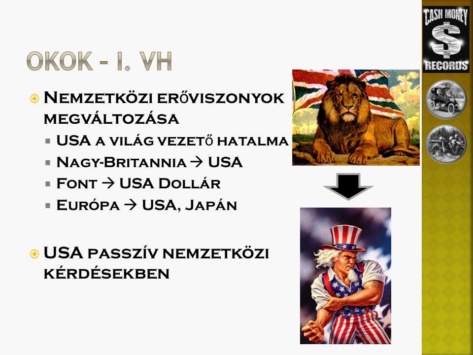 Nemzetközi er ő viszonyok megváltozása  USA a világ vezet ő hatalma  Nagy-Britannia  USA  Font  USA Dollár  Európa  USA, Japán  USA passzív nemzetközi kérdésekben