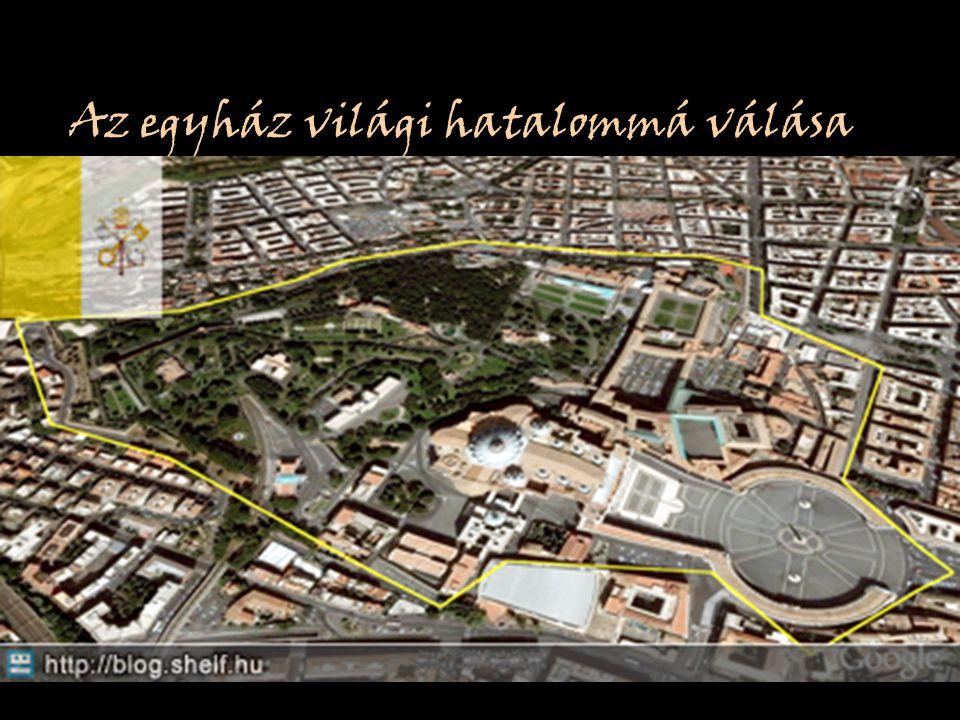 Az egyház világi hatalommá válása Legyőzi a longobárdokat Pápa megkoronázza (754, 756) Pápának adja Római Ducatus és a Ravennai exarchátust Immár a ró