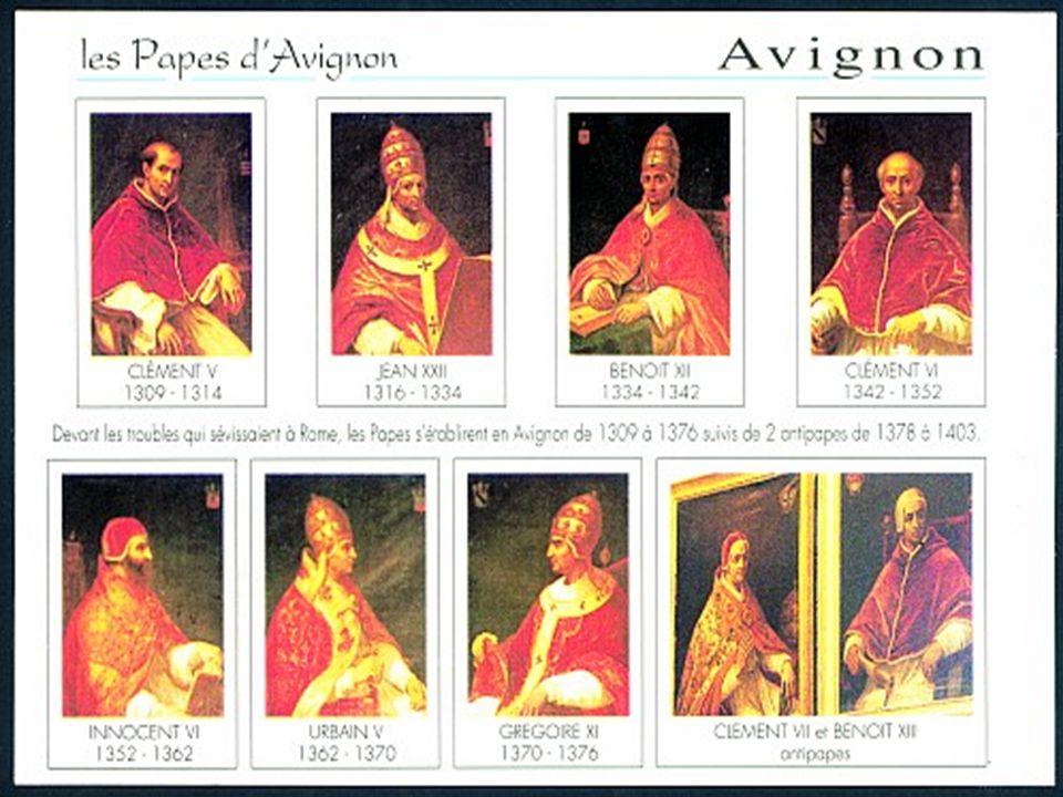 Avignoni pápaság  Francia királyság felemelkedése II. Fülöp Ágost  Központi hatalom fenntartása Egyházi birtokok megadóztatása  VIII. Bonifác (utol