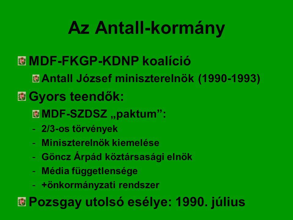 """Az Antall-kormány MDF-FKGP-KDNP koalíció Antall József miniszterelnök (1990-1993) Gyors teendők: MDF-SZDSZ """"paktum : -2/3-os törvények -Miniszterelnök kiemelése -Göncz Árpád köztársasági elnök -Média függetlensége -+önkormányzati rendszer Pozsgay utolsó esélye: 1990."""