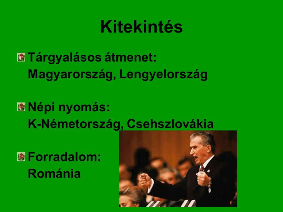 Kitekintés Tárgyalásos átmenet: Magyarország, Lengyelország Népi nyomás: K-Németország, Csehszlovákia Forradalom: Románia
