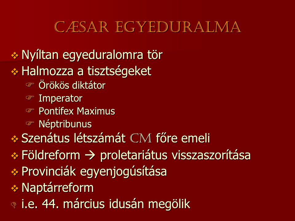 Cæsar egyeduralma  Nyíltan egyeduralomra tör  Halmozza a tisztségeket  Örökös diktátor  Imperator  Pontifex Maximus  Néptribunus  Szenátus léts