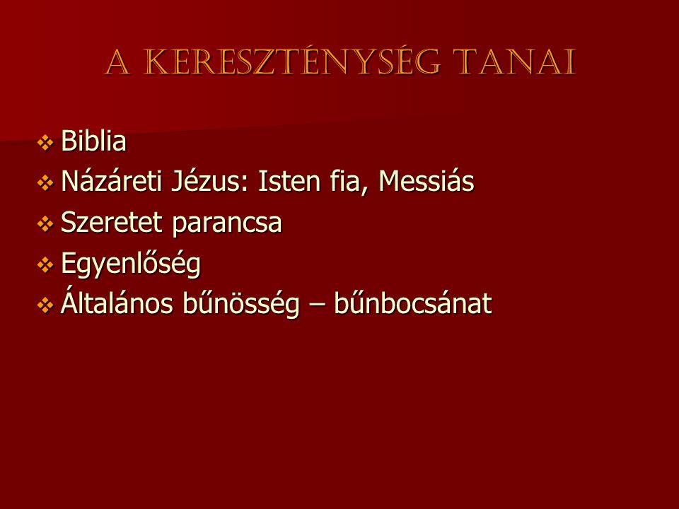 A kereszténység tanai  Biblia  Názáreti Jézus: Isten fia, Messiás  Szeretet parancsa  Egyenlőség  Általános bűnösség – bűnbocsánat