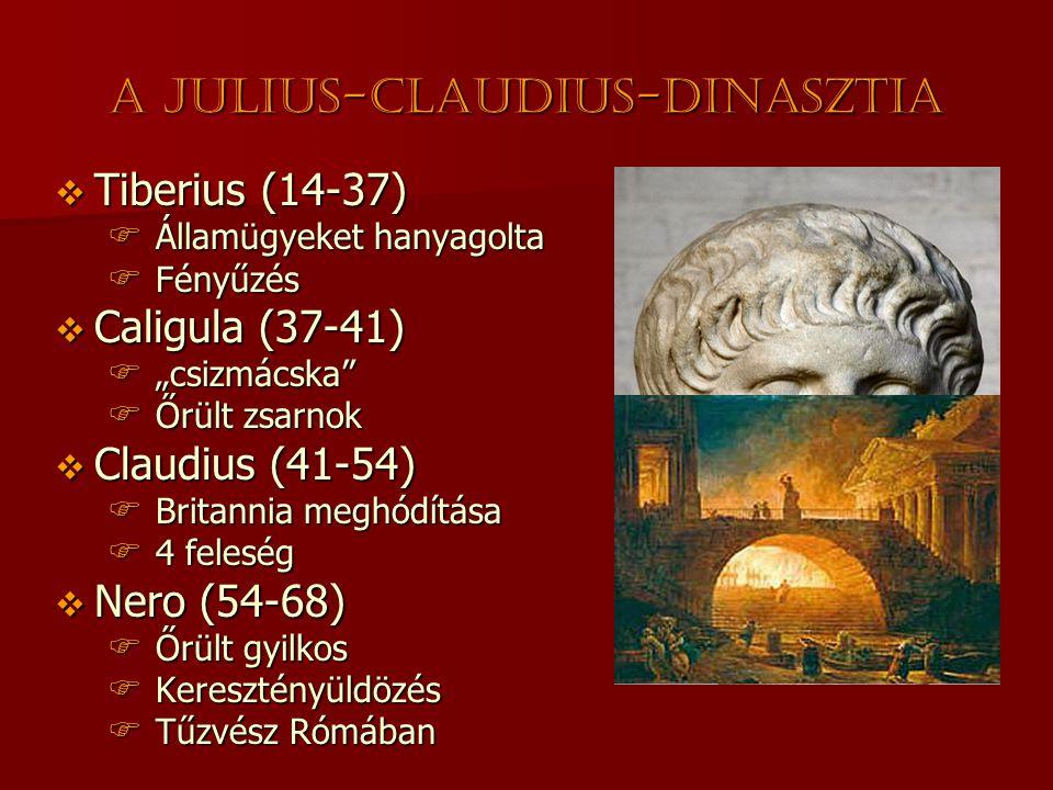 """A Julius-Claudius-dinasztia  Tiberius (14-37)  Államügyeket hanyagolta  Fényűzés  Caligula (37-41)  """"csizmácska  Őrült zsarnok  Claudius (41-54)  Britannia meghódítása  4 feleség  Nero (54-68)  Őrült gyilkos  Keresztényüldözés  Tűzvész Rómában"""