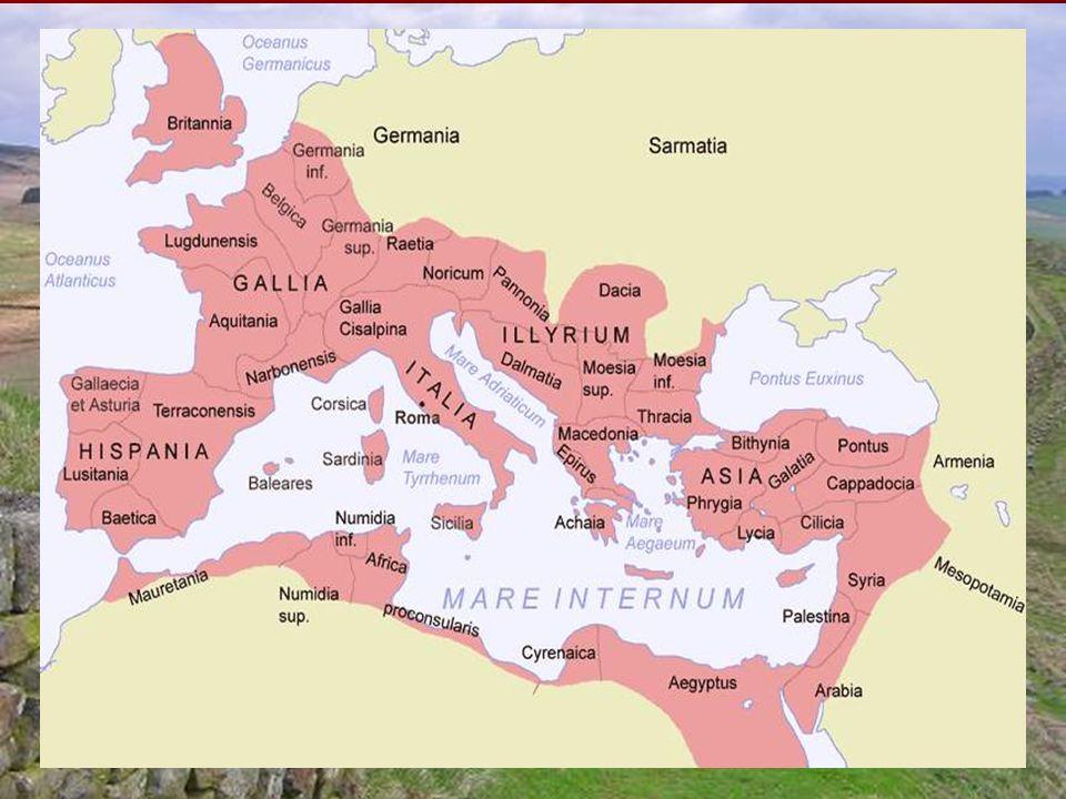 """Az Antoninus-dinasztia  """"jó császárok  Traianus (98-117)  Az utolsó nagy hódító  Keleti területek  Dácia  Hadrianus (117-138)  Tapasztalt hadvezér  Védelemre koncentrál  Limes  """"A császárság második megalapítója"""