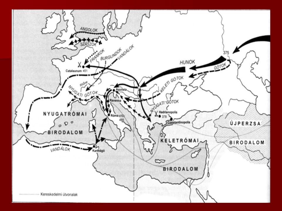 A Népvándorlás  Kelet-Ázsiából indul a IV. szd. végén  Láncreakció szerű népmozgás  A hunok megverik a germánokat  A germánok nyugat felé kényszer