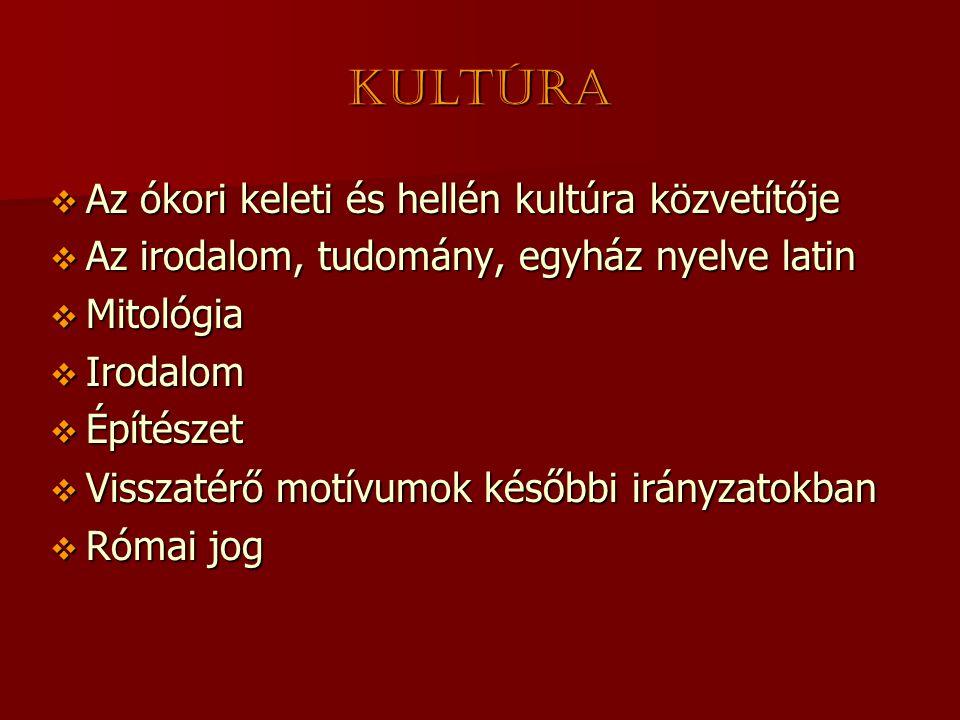 Kultúra  Az ókori keleti és hellén kultúra közvetítője  Az irodalom, tudomány, egyház nyelve latin  Mitológia  Irodalom  Építészet  Visszatérő m