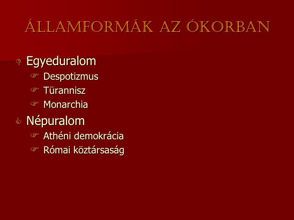  Egyeduralom  Despotizmus  Türannisz  Monarchia  Népuralom  Athéni demokrácia  Római köztársaság Államformák az ókorban