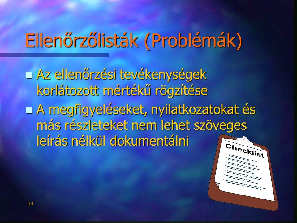 14 Ellenőrzőlisták (Problémák) n Az ellenőrzési tevékenységek korlátozott mértékű rögzítése n A megfigyeléseket, nyilatkozatokat és más részleteket nem lehet szöveges leírás nélkül dokumentálni