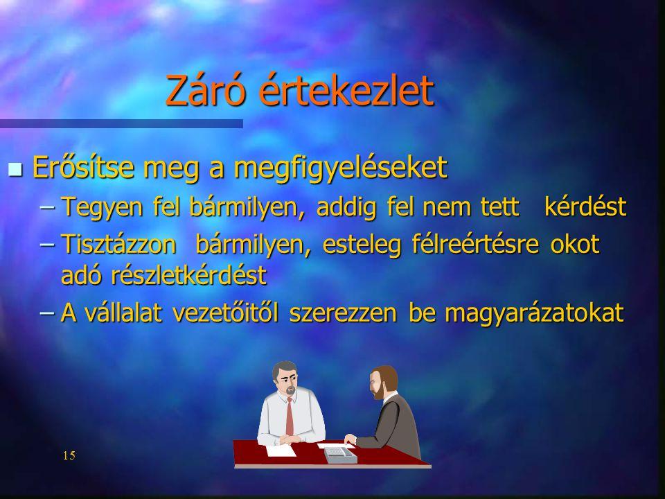 15 Záró értekezlet n Erősítse meg a megfigyeléseket –Tegyen fel bármilyen, addig fel nem tett kérdést –Tisztázzon bármilyen, esteleg félreértésre okot
