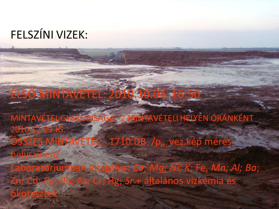 FELSZÍNI VIZEK: ELSŐ MINTAVÉTEL: 2010.10.04.