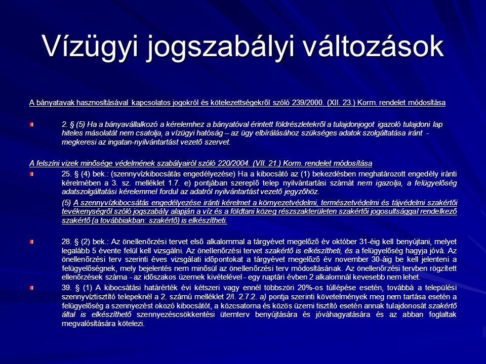 Vízügyi jogszabályi változások A bányatavak hasznosításával kapcsolatos jogokról és kötelezettségekről szóló 239/2000.