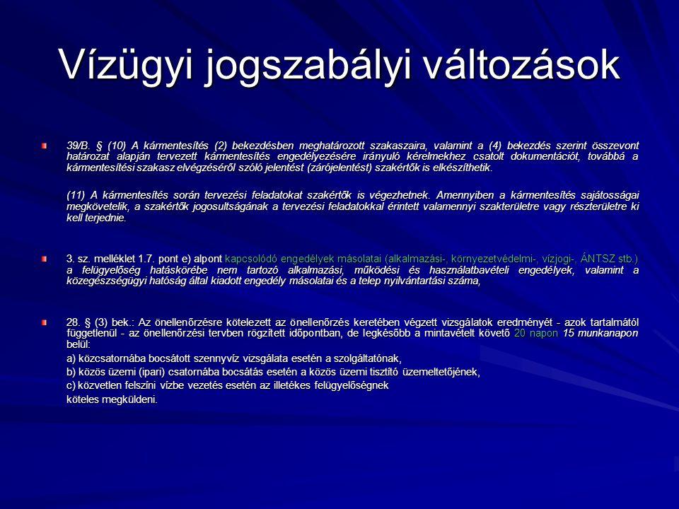 Vízügyi jogszabályi változások 39/B.