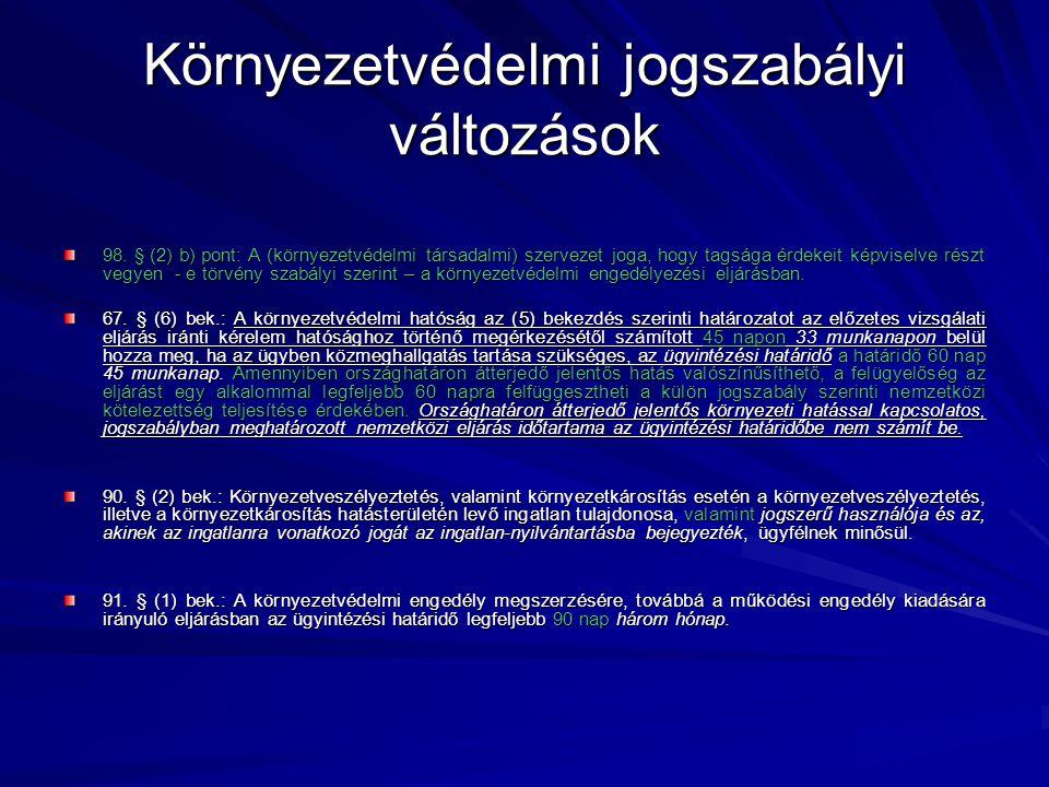 Környezetvédelmi jogszabályi változások A 21/2001.