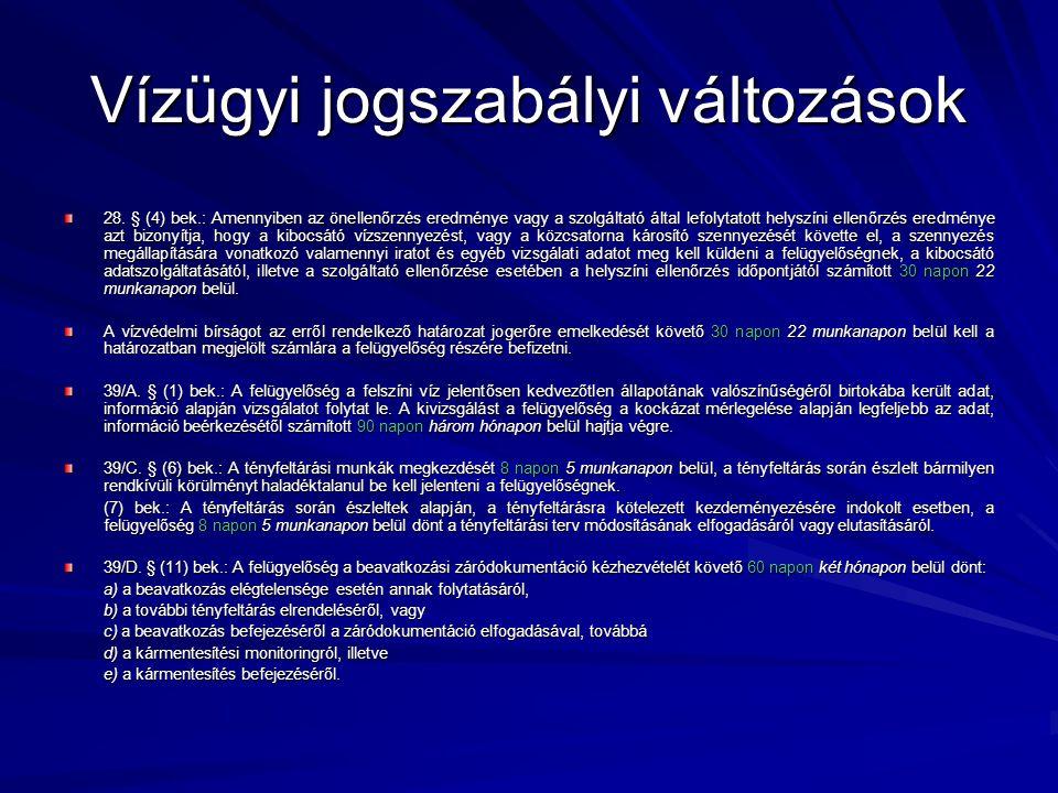 Vízügyi jogszabályi változások 28.