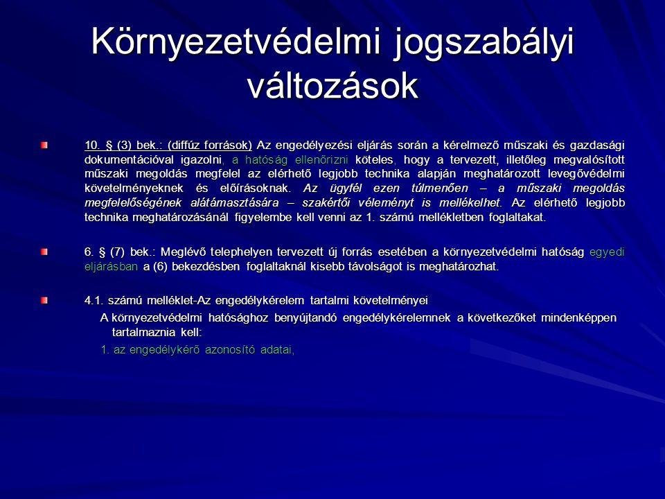 Környezetvédelmi jogszabályi változások A 2/2005.(I.