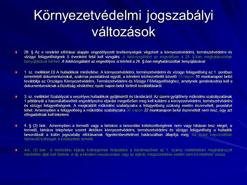 Környezetvédelmi jogszabályi változások 3.