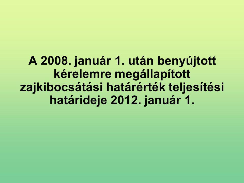 A 2008. január 1. után benyújtott kérelemre megállapított zajkibocsátási határérték teljesítési határideje 2012. január 1.