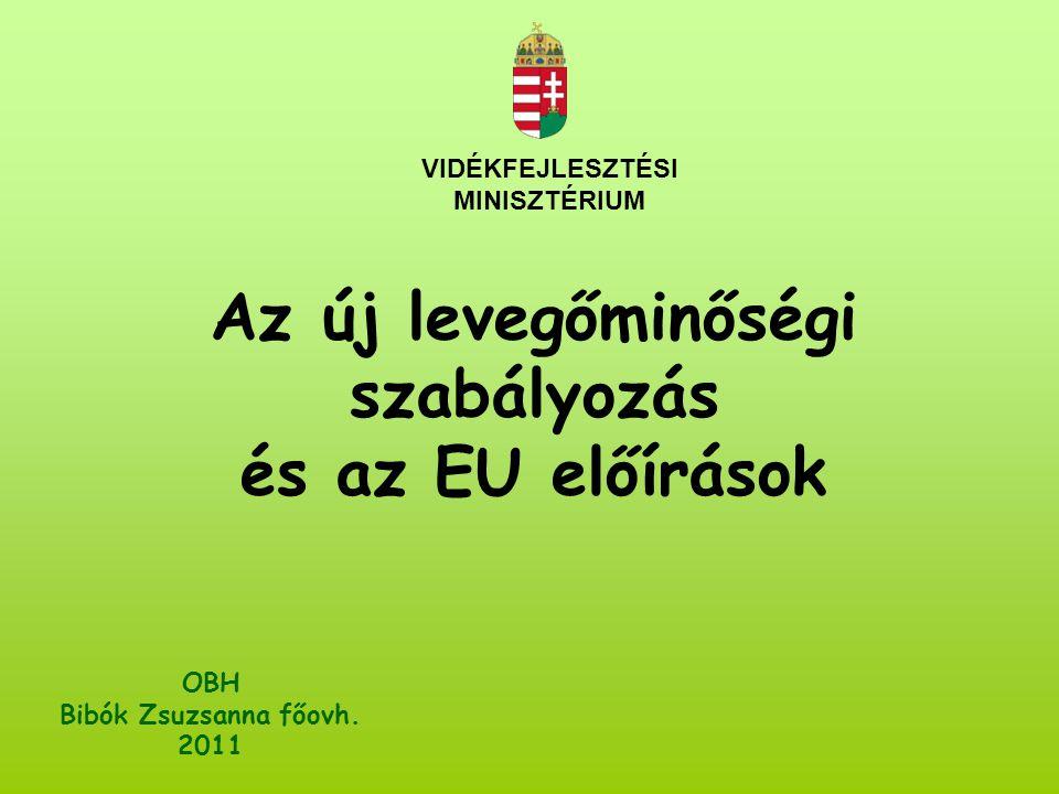 VIDÉKFEJLESZTÉSI MINISZTÉRIUM OBH Bibók Zsuzsanna főovh. 2011 Az új levegőminőségi szabályozás és az EU előírások