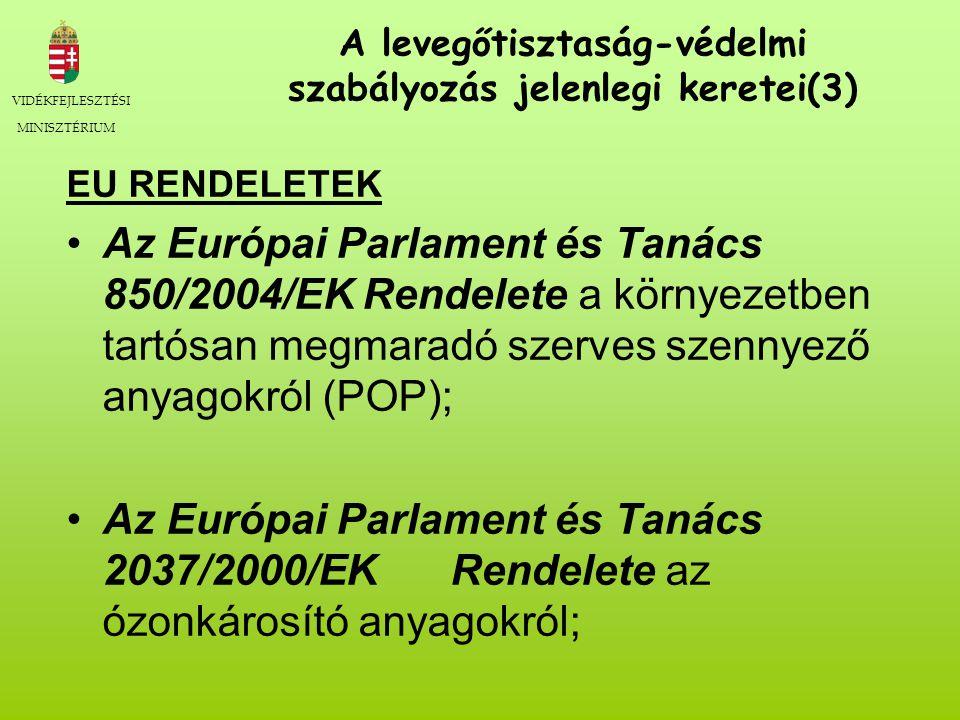 VIDÉKFEJLESZTÉSI MINISZTÉRIUM A levegőtisztaság-védelmi szabályozás jelenlegi keretei(3) EU RENDELETEK Az Európai Parlament és Tanács 850/2004/EK Rendelete a környezetben tartósan megmaradó szerves szennyező anyagokról (POP); Az Európai Parlament és Tanács 2037/2000/EK Rendelete az ózonkárosító anyagokról;