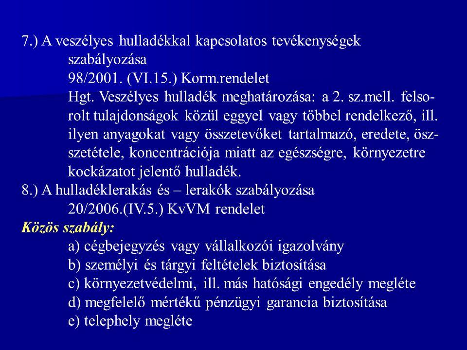 7.) A veszélyes hulladékkal kapcsolatos tevékenységek szabályozása 98/2001.